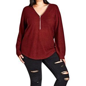 City Chic - Zip Trim Sweater - Plus Size Small